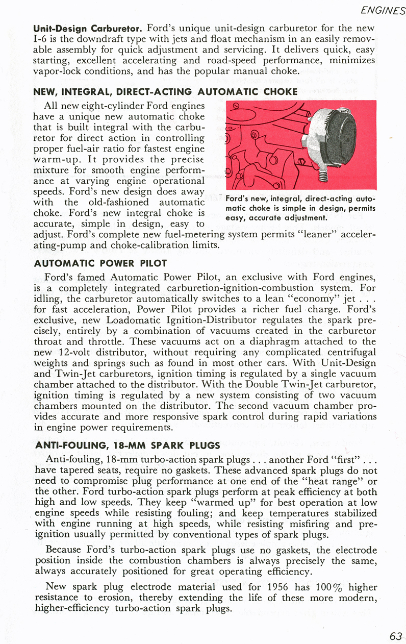All The Facts Page 63   Unit-Design Carburetor   Automatic Choke   Automatic Power Pilot   Anti-Fouling 18-MM Spark Plugs