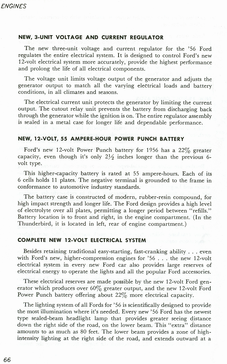 All The Facts Page 66   New 3-Unit Voltage & Current Regulator   New 12-Volt 55 Ampere-Hour Power Punch Battery   Complete New 12-Volt Electrical System