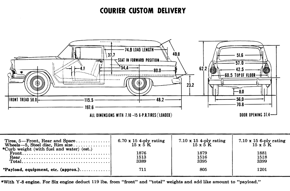 1956 Ford Courier (Sedan Delivery/Custom Delivery) Dimensions